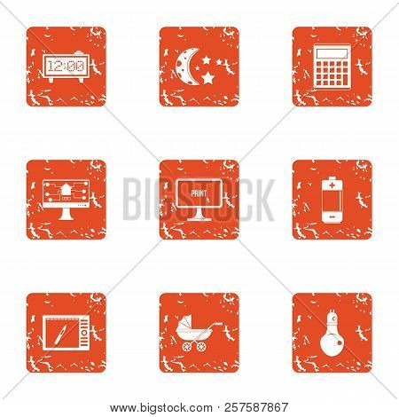 Nocturnal Icons Set. Grunge Set Of 9 Nocturnal Icons For Web Isolated On White Background