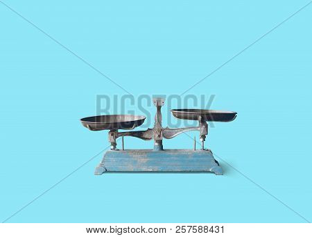 Isolate Vintage Weight Scale Measurement On Plain Background
