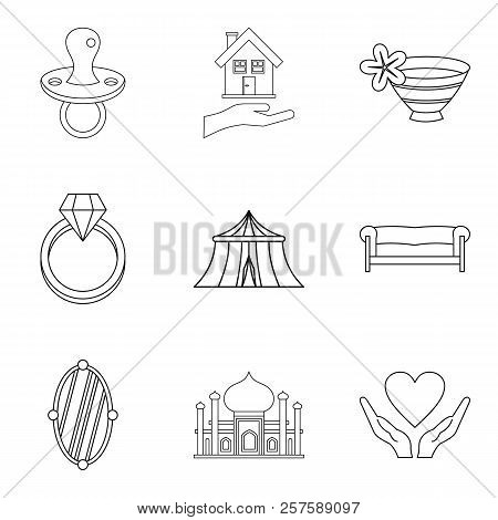 Wife Icons Set. Outline Set Of 9 Wife Icons For Web Isolated On White Background