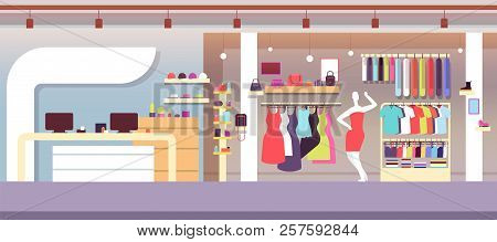 Fashion Shop. Boutique Fashion Store With Female Clothes And Women Bags. Shopping Mall Vector Interi