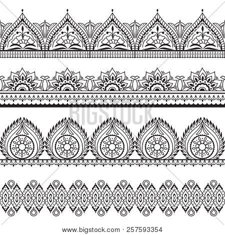 Mehndi Seamless Borders. Henna Oriental Patterns. Indian Floral Vector Frames. Mehndi Pattern Outlin