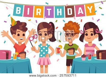 Children Birthday Party. Kids Celebrating Anniversary. Vector Birthday Background With Cartoon Boys