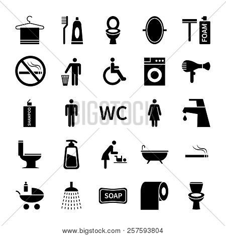 Wc Toilet Icons. Restroom And Bathroom Vector Silhouette Symbols. Set Of Washroom Icon, Foam And Soa