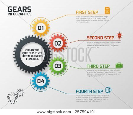 Gears Infographics. Cogs Gearing Process Planning, Timeline And Engineering Infochart With Options V