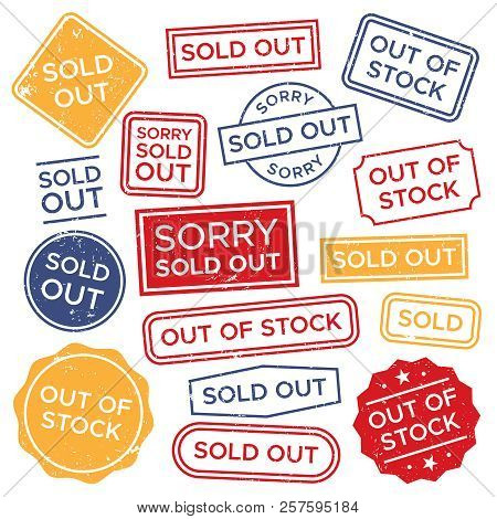 Sold Out Stamps. Out Of Stock Rubber Stamp, Red Rectangular Shopping Label And Sales Badge Tag Vecto