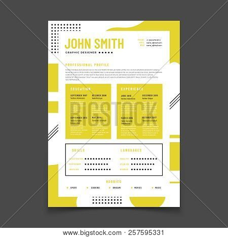 Cv Design. Professional Resume With Business Details. Curriculum And Best Job Resume Vector Infograp
