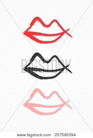 outline lips drawn by vector photo free trial bigstock