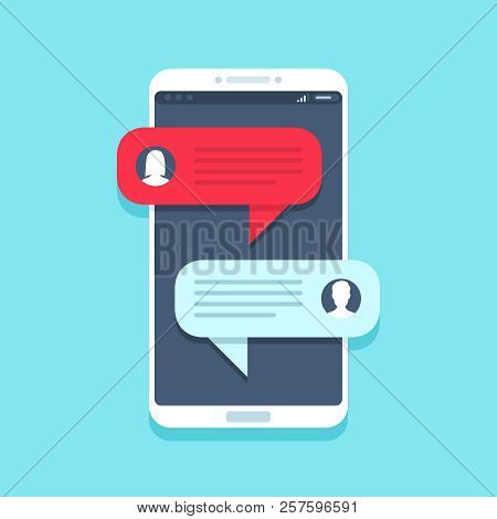 Chat Message On Smartphone. Mobile Phone Chatting, People Texting Messages And Sms Bubble On Phones