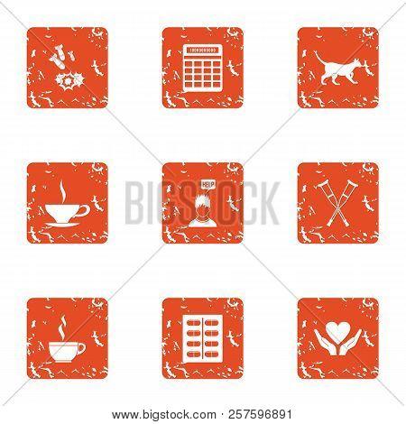 Post War Assistance Icons Set. Grunge Set Of 9 Post War Assistance Icons For Web Isolated On White B