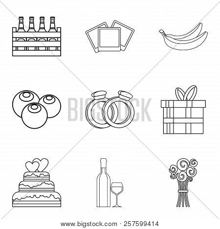 Love Relationship Icons Set. Outline Set Of 9 Love Relationship Icons For Web Isolated On White Back