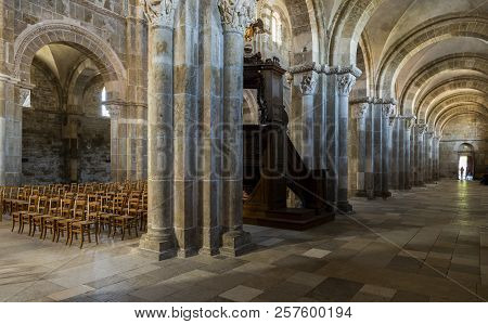 Vezelay, France - July 29, 2018: Church Interior Of The Romanesque Abbey Of Vezelay In Yonne, France