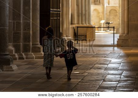 Vezelay, France - July 29, 2018: Church Service With Children In The Romanesque Church And Abbey Of