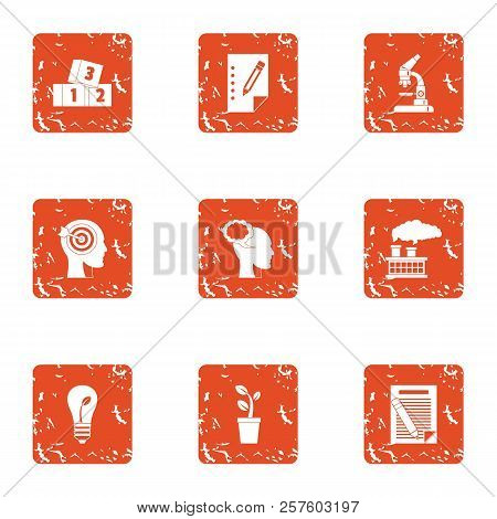 Smart Resourceful Icons Set. Grunge Set Of 9 Smart Resourceful Icons For Web Isolated On White Backg