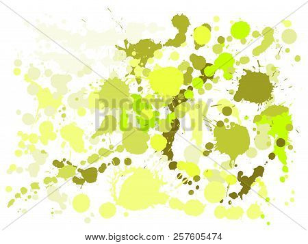 Gouache Paint Stains Grunge Background Vector. Cool Ink Splatter, Spray Blots, Mud Spot Elements, Wa
