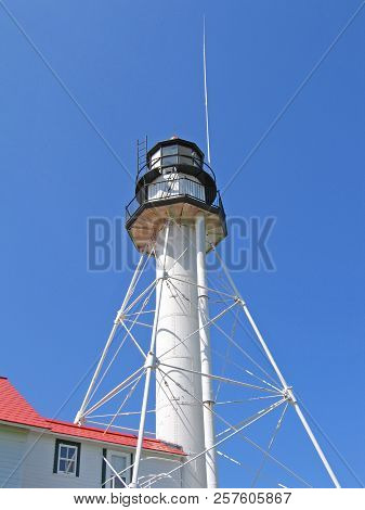 The Whitefish Point Light Is Located In The Upper Peninsula Of Michigan At The Entrance To Whitefish