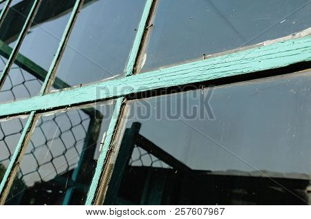 Old window with unwashed windowpane and chapped window frame painted green and rusty nails close view poster