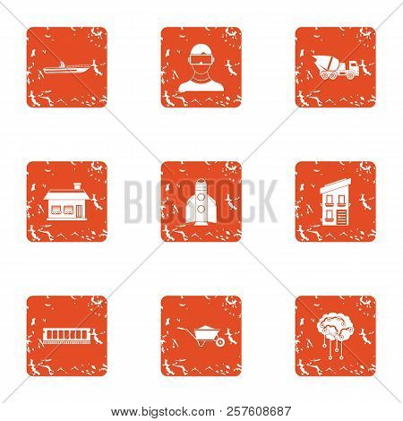 Contemporary Build Icons Set. Grunge Set Of 9 Contemporary Build Icons For Web Isolated On White Bac