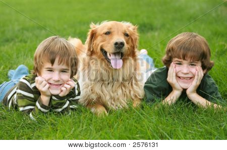 Two Boys and a Dog With Big Smiles poster