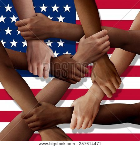 American Diversity Teamwork As A Group Of Diverse United States People Holding Arms As A Multiracial