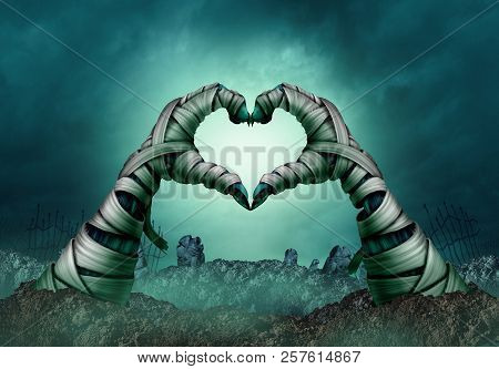 Mummy hand heart shape in a creepy night graveyard background as zombie halloween arms emerging from a cemetary grave or scary symbol in a 3D illustration style. poster
