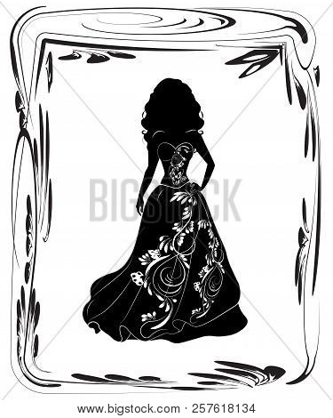 Silhouette Of The Beautiful Young Bride In A Magnificent Wedding Dress, Black, On A White Background