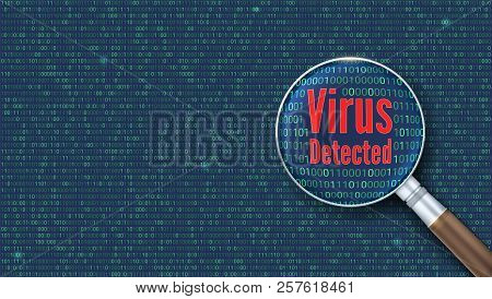 Virus detected. Scanning and identifying a computer virus inside binary code listing. Magnifying glass increases the area of the code with computer virus poster