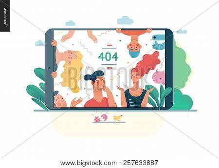 Business Series, Color 1- Error 404 -modern Flat Vector Concept Illustration Of Page Error 404 - Puz