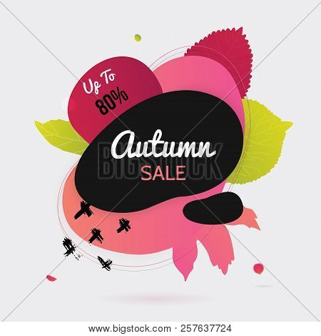 Flat Autumn Leaves Banner With Circle Onwhite Background.flat Fall Promotion With Gradient