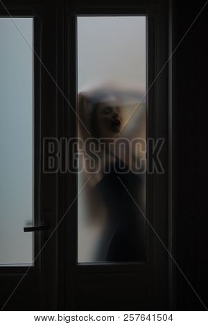 Silhouette Of Woman Hidden Behind Glass Door, Mystery Concept. Mystery Woman With Blur Filter.