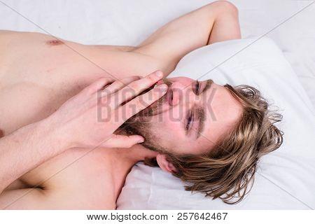 Guy Sleepy Morning Nap. Pleasant Awakening Concept. Man Unshaven Handsome Guy Naked Torso Relaxing B