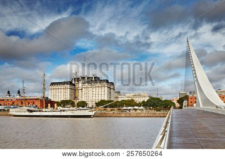 Buenos Aires Capital city of Argentina, Puerto Madero district, view from Women Bridge