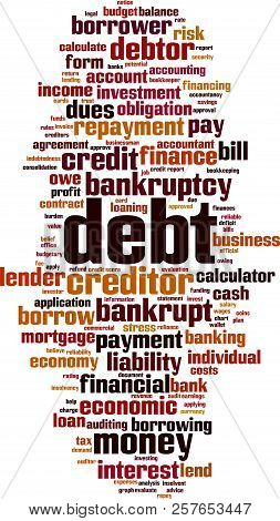Debt Word Cloud Concept. Vector Illustration On White