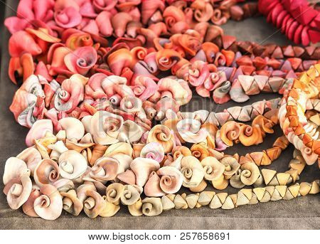Beads Are Handmade In The Form Of Flowers. Folk Art