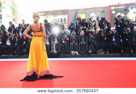 Carolina Crescentini walks the red carpet ahead of the Award Ceremony during the 75th Venice Film Festival at Sala Grande on September 8, 2018 in Venice, Italy.