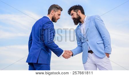 Entrepreneurs Shaking Hands Symbol Successful Deal. Business Partner Confirming Deal Transaction. Bu