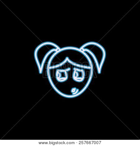 Paranoid Girl Face Icon In Neon Style. One Of Emotions Collection Icon Can Be Used For Ui, Ux