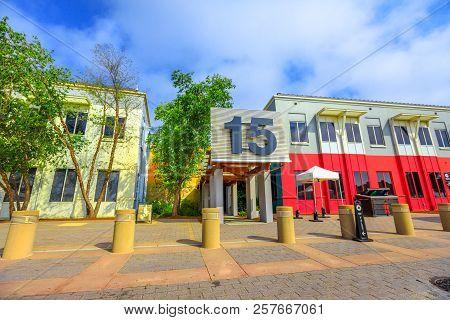 Menlo Park, California, United States - August 13, 2018: Entrance Building 15 Campus Of Facebook Hea