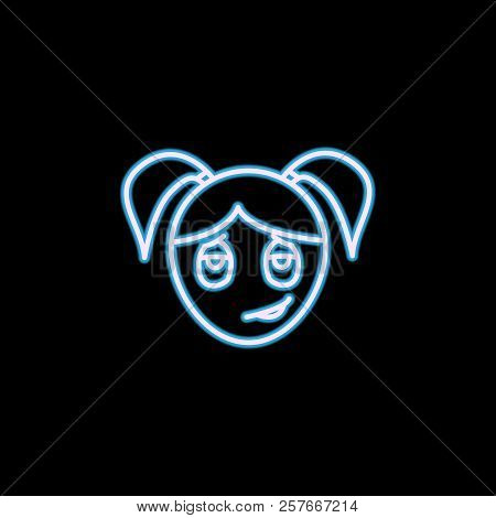 Lovestruck Girl Face Icon In Neon Style. One Of Emotions Collection Icon Can Be Used For Ui, Ux