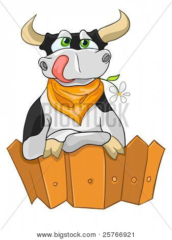 Cartoon Character Cow Isolated on White Background. Vector. poster
