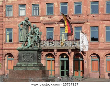 Brothers Grimm - famous literary German national monument in Hanau city, Germany