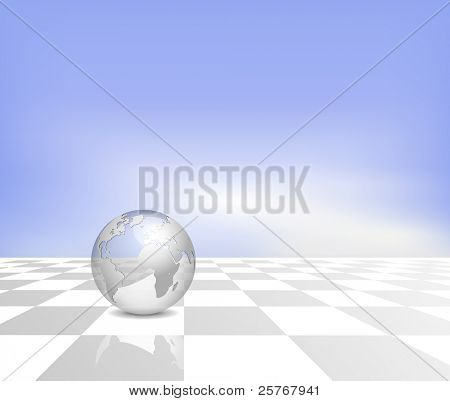 Blue business map background - silver 3d globe on white grey checkered floor with blue sky and clouds