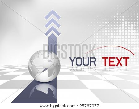 Business background with globe, blue arrows and gray and white checked floor - global map - corporate design - vector template