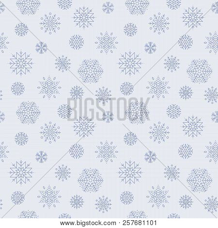 Snowflake Pattern. Design Of Seamless Pattern With Dark Blue Snowflakes On Blue Background. Backgrou