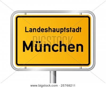 City limit sign MUNICH against white background - vector illustration