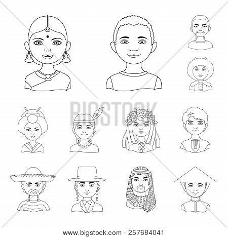 The Human Race Outline Icons In Set Collection For Design. People And Nationality Vector Symbol Stoc