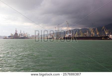 Russia, Novorossiysk - May 9, 2015: Views Of Novorossiysk Commercial Sea Port. Novorossiysk Is A Lar
