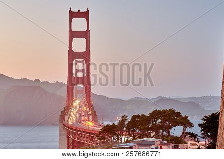 Golden Gate Bridge view from Golden Gate Overlook at sunset, San Francisco, California, USA