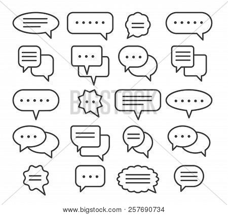 Thin Line Speech Bubble Icons. Vector Line Plain Speak Bubbles, Chat Conversation Or Text Comment Si