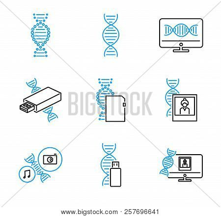 Dna Data Storage Outline Vector Icons Collection Set With Binarization, Encoding, Synthesis, Sequenc