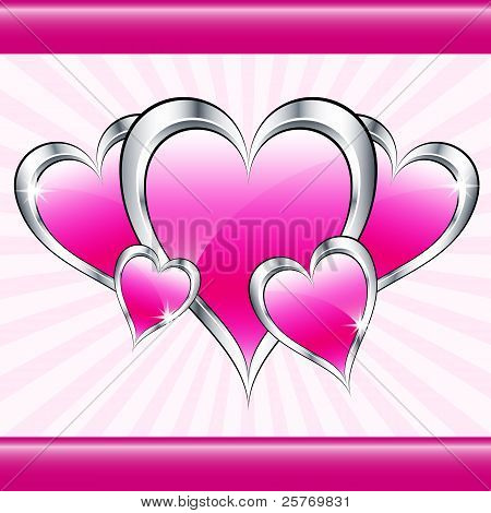 Pink Love Hearts And Starburst